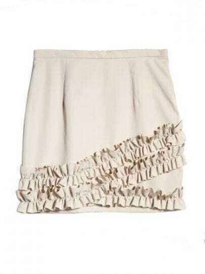 Beige Ruffles Polyester Skirt