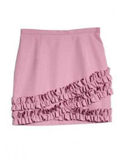 Pink Ruffles Polyester Skirt