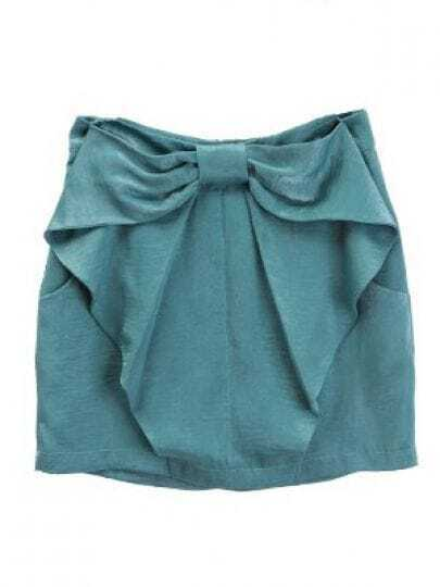 Shiny Green Bow Ruffles Polyester Skirts