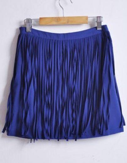 Blue Vintage High Waist Tassel Chiffon Skirt