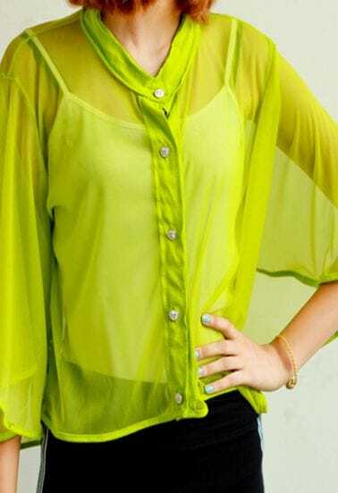 Green Three Quarter Length Flare Sleeve Transparent Shirt