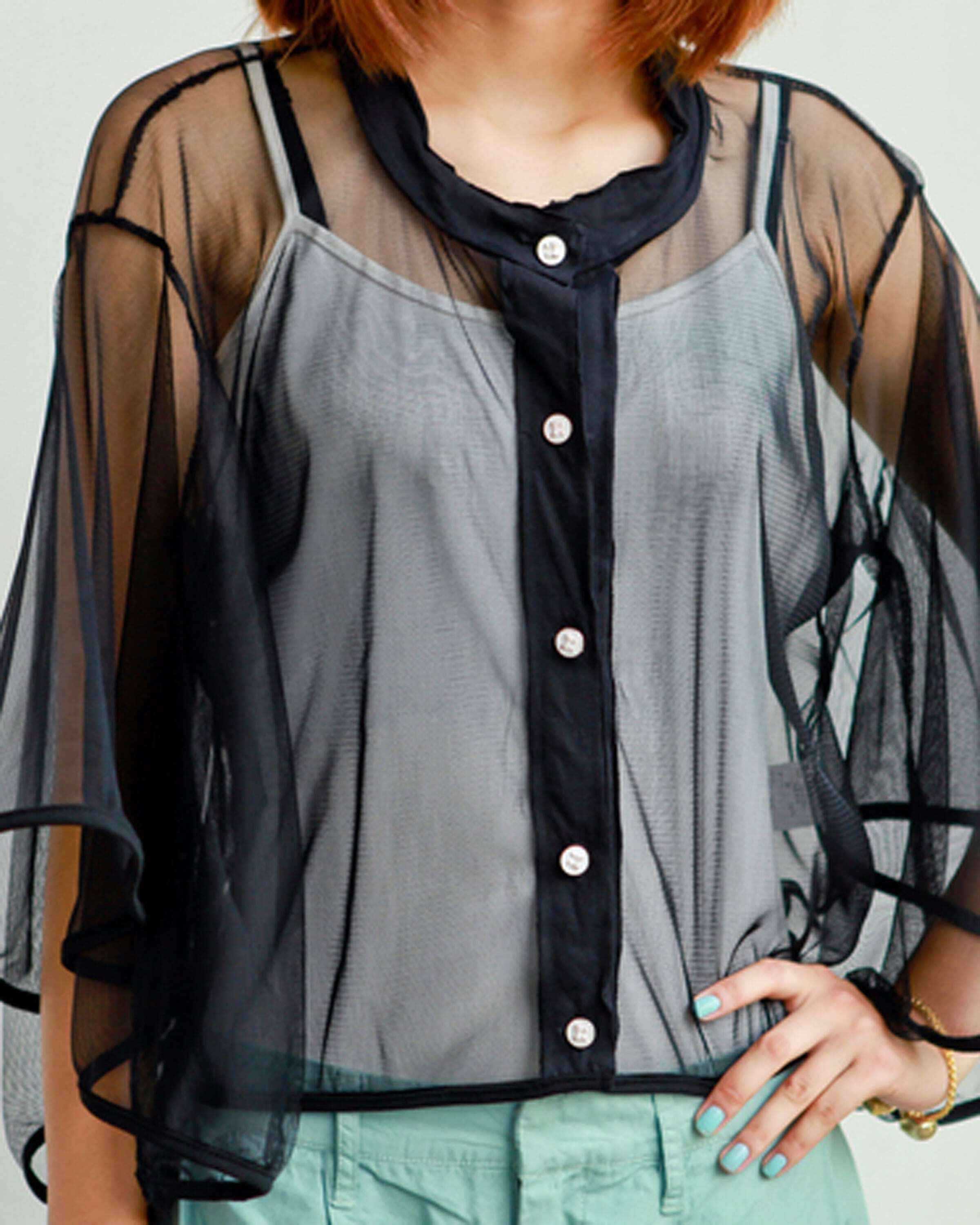 Black Three Quarter Length Flare Sleeve Transparent Shirt -SheIn ...
