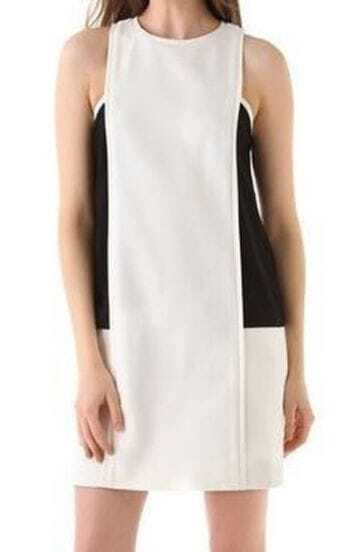 White Black Sleeveless Shift Zip Back Dress
