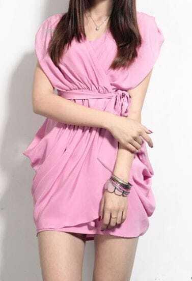 Purple V-neck Sleeveless Criss Cross Pleated Wrap Chiffon Dress
