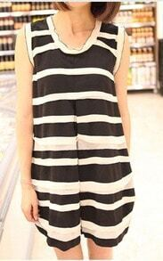 Black White Striped Pleated Shift Frill Neckline Short Dress