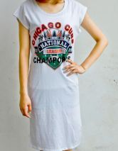 White CHICAGO CUBS CHAMPOPNS Short Sleeve Short Dress