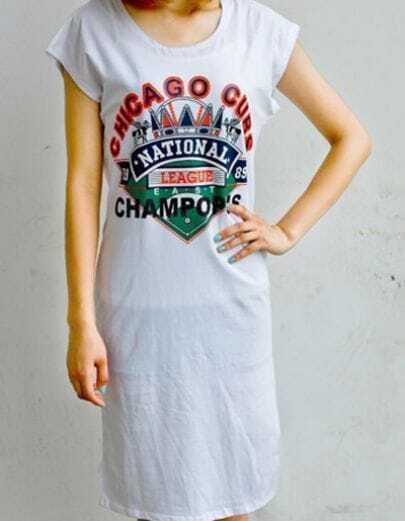 White CHICAGO CUBS CHAMPOPNS Short Sleeve Short Dress