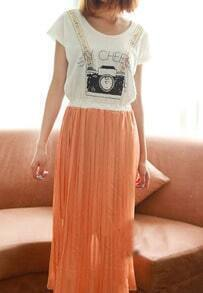 Orange Camera Print Pleated Chiffon Maxi Shirt Cut Out Back Dress