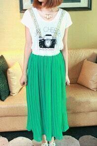 Green Camera Print Pleated Chiffon Maxi Shirt Cut Out Back Dress