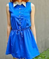 Royal Blue Sleeveless Contrast Collar Pocket Drawstring Chiffon Dress