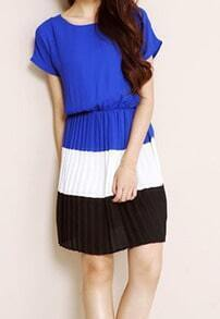 Royal Blue Short Sleeve Pleated Above The Knee Dress