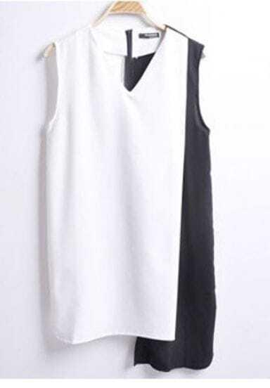 White Black V-neck Zip Back Asymmetrical Shift Short Dress
