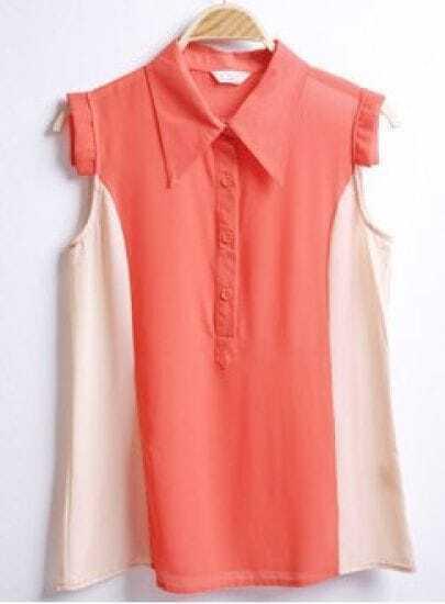 Red Polo Collar Sleeveless Sheer Chiffon Shirt
