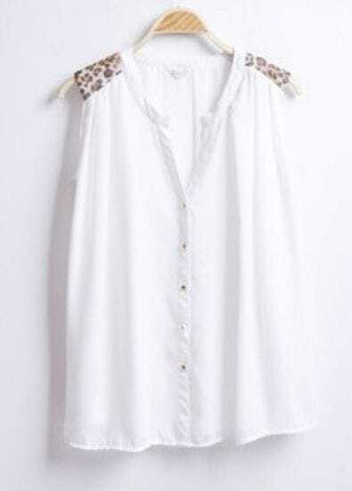 White V-neck Leopard Pad Shoulder Sleeveless Chiffon Shirt