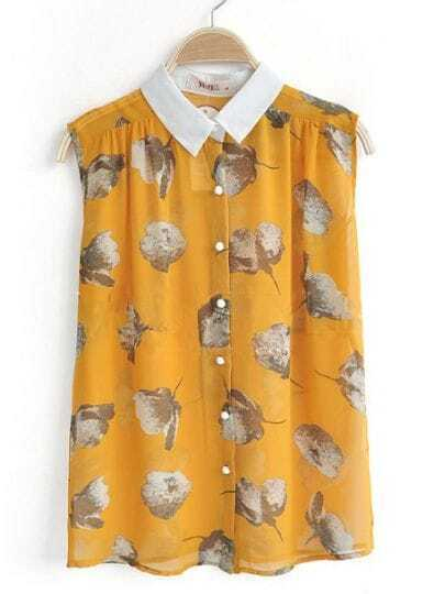 Yellow Contrast Collar Sleeveless Floral Chiffon Shirt