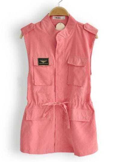 Pink High Neck Sleeveless Pockets Zipper Drawstring Waistcoat