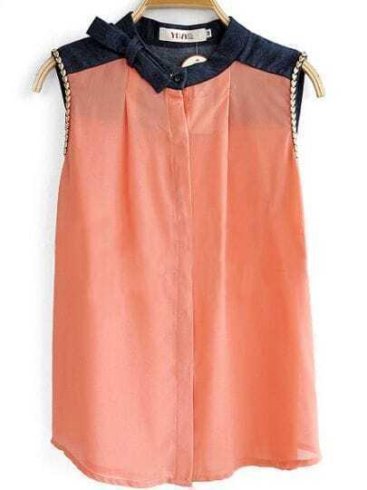 Pink Banded Denim Collar Chain Sleeveless Chiffon Shirt