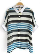 Blue Black Striped Batwing Short Sleeve Contrast Collar Chiffon Shirt