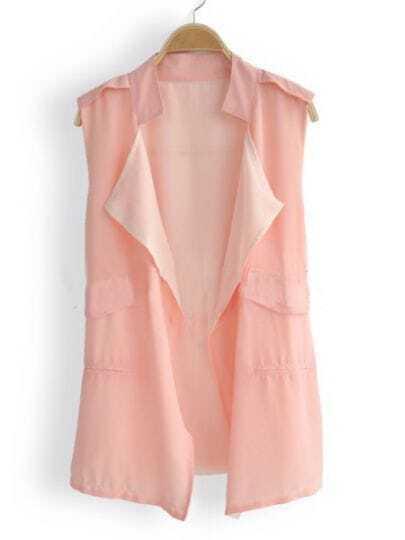 Pink Banded Collar Double Layered Chiffon Drawstring Waistcoat