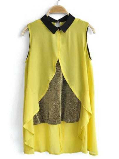 Yellow Sleeveless Contrast Cami Chiffon Dipped Hem Split Back Shirt