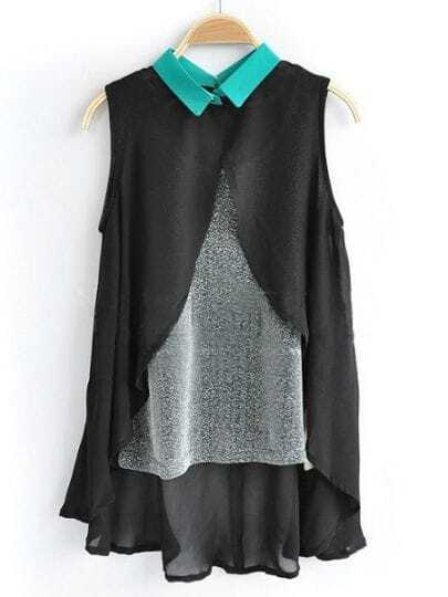 Black Sleeveless Contrast Cami Chiffon Dipped Hem Split Back Shirt