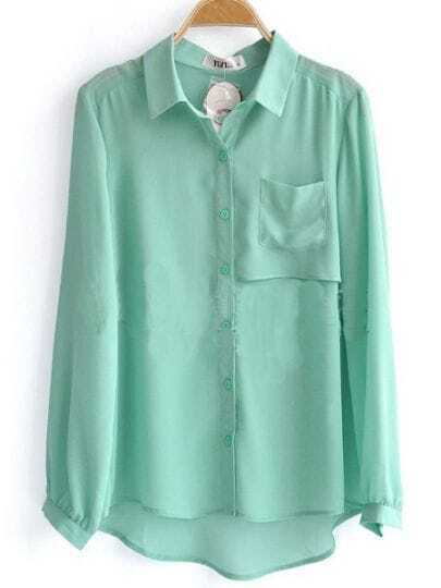 Green Long Sleeve Pocket Chiffon Layered Shirt
