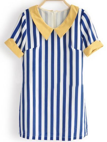 Blue Vertical Striped Short Sleeve Chiffon Zip Back Blouse