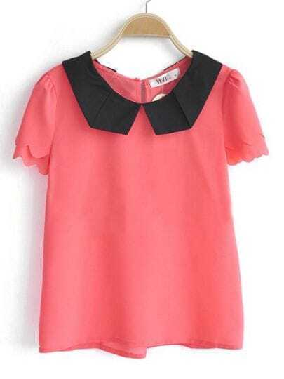 Dark Pink Contrast Collar Layers Scallop Edge Short Sleeve Chiffon Blouse
