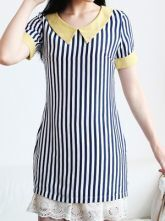 Blue Contrast Collar and Cuffs Vertical Striped Zip Back Blouse