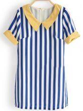 Blue Vertical Striped Short Sleeve Chiffon Zip Back Blouse