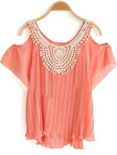 Pink Crochet Floral Neck Cold Sleeve Chiffon Pleated Blouse