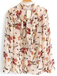Beige Ruffle Tie V-neck Long Sleeve Bird Print Chiffon Shirt