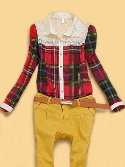 Red Long Sleeve Plaid Floral Lace Pearls Collar Shirt