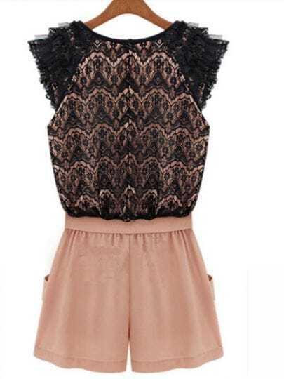 Black Floral Lace Cap Sleeve Zip Back Bow Front Jumpsuit