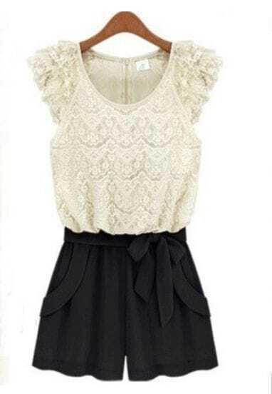 White Floral Lace Cap Sleeve Zip Back Bow Front Jumpsuit