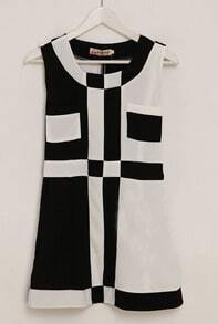Black and White Contrast Plaid Short Sleeve Dress