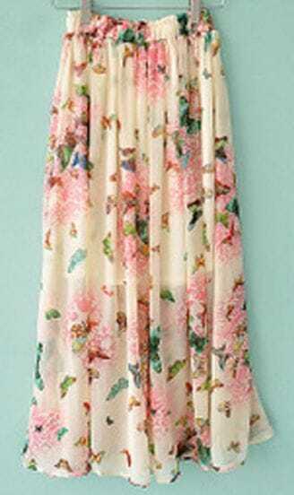 Pink Pleated Chiffon Floral Print Skirt