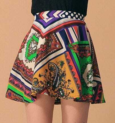 Tribal Print Zip Back Short Skirts