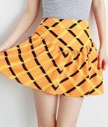 Orange Chiffon Geometric Prints Zip Short Skirts