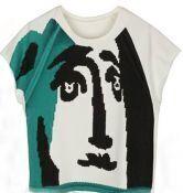 White Batwing Sleeve Graffiti Face Print T-shirt
