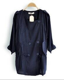 Navy Blue Military Drawstring Outerwear