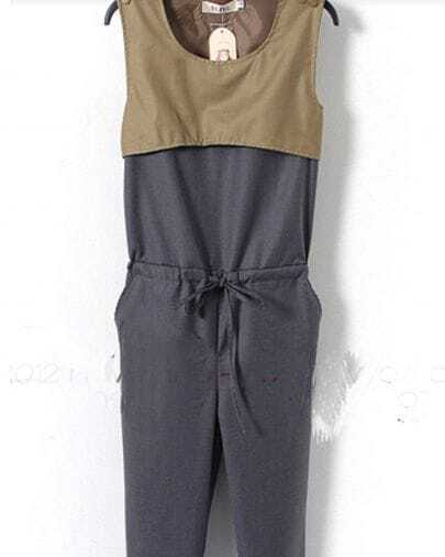 Grey Sleeveless Drawstring Pockets Side Cut Out Back Jumpsuit