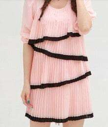 Pink Half Sleeve Tiered Pleated Tie Back Short Dress