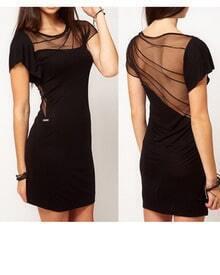 Black Short Sleeve Short Contrast Mesh Dress