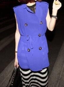 Purple Lapel Sleeveless Double Breasted Chiffon Shirt