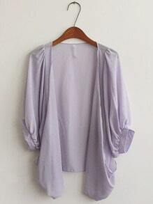 Purple Half Puff Sleeve Draped Front Chiffon Cardigan