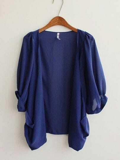 Dark Blue Half Puff Sleeve Draped Front Chiffon Cardigan