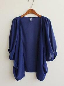 Dark Blue Half Puff Sleeve Draped Front Chiffon Cardigan