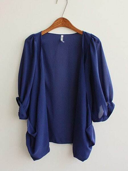 Dark Blue Half Puff Sleeve Draped Front Chiffon Cardigan -SheIn ...