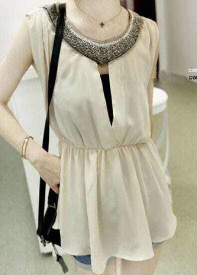 Beige Beading Neckline Cut Out Back Sleeveless Chiffon Blouse